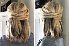 Half up style Link: http://pophaircuts.com/18-simple-office-hairstyles-for-women-you-have-to-see