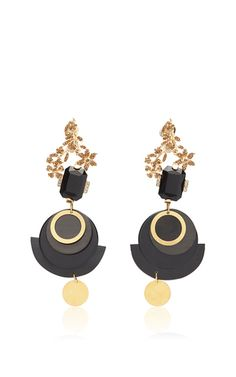 These **Marni** Strass earings are rendered in metal and bovine horn and feature a drop style and flower motif.