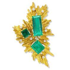 Emerald And Diamond Brooch Circa 1970 By Van Cleef & Arpels
