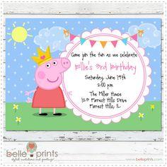 Peppa Pig Birthday Invitation by Belle Prints.com
