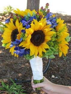 Sunflower Bouquet Ideas. Yellow, green, pink/red, blue/purple.