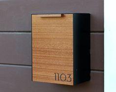 Modern Mailbox Narrow Mahogany Wall Mounted mailbox by CeCeWorks… Black Mailbox, Modern Mailbox, Wall Mount Mailbox, Mounted Mailbox, Modern Wall, Mid-century Modern, Mailbox Covers, Post Box, Dark Stains