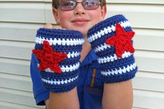 "Free Crochet pattern - Captain America Gloves. Guess if Im gonna do Iron Man, gotta do ""Capn Merica,"" as Emmett calls him :)"