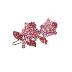 Vintage Rose Shades of Pink Austrian Crystal Hair Clip