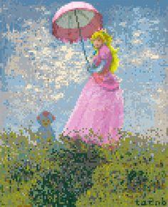 「日傘をさす女」(左画像) のピーチ姫版