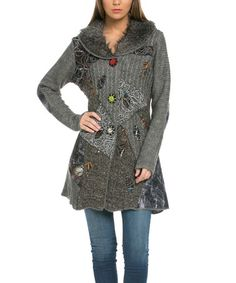 Another great find on #zulily! Gray Patchwork Faux Fur-Collar Wool-Blend Duster #zulilyfinds