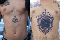Sword And Shield Tattoo Sword and shield cover up tattoo. 0 notes