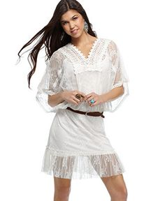 XOXO Dress, Short Sleeve Embroidered Lace Belted Peasant