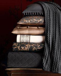"Mixing dark gray with bronze. Willow"" Bed Linens Neiman Marcus"