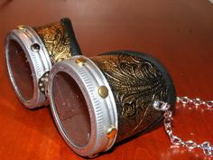 What is a Steampunk costume without goggles? In the Aerodrome goggles are used to mostly to change the color drab gray Midwestern sky to something more pleasing. Steampunk Gadgets, Steampunk Goggles, Steampunk Cosplay, Steampunk Diy, Steampunk Clothing, Steampunk Fashion, Steampunk Design, Victorian Steampunk, Victorian Fashion