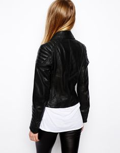 ASOS Leather Biker Jacket with Panel Detail