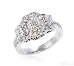 Emerald Cut Engagement Ring with Trapezoid Sides & Pave Trim