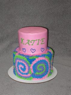 Fun whimsical girl's birthday cake