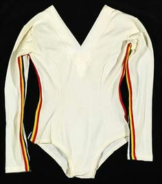 Nadia Comaneci's white leo from the 1976 Olympics with the colors of the Romanian flag.