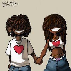 Black Cartoon Characters, Black Girl Cartoon, Dope Cartoon Art, Cartoon Art Styles, Cartoon Pics, Black Couple Art, Cute Couple Art, Black Girl Art, Black Women Art