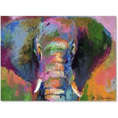 Richard Wallich 'Elephant 2' Canvas Wall Art ($57) ❤ liked on Polyvore featuring home, home decor, wall art, horizontal wall art, abstract drawing, elephant figurines, abstract animal paintings and abstract canvas wall art