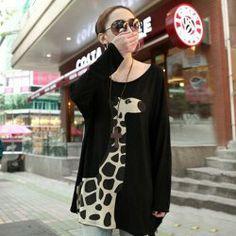 $9.16 Preppy Style Cute Giraffe Printed Long Sleeves Scoop Neck Modal T-Shirt For Women