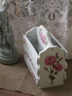 This beautiful magazine rack is the perfect addition to your Shabby Chic Romantic cottage style home. Lots of detail on the gorgeous piece !!