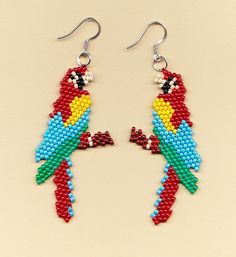 Beaded Macaw Parrot Earrings by NativeWorks on Etsy, $21.00