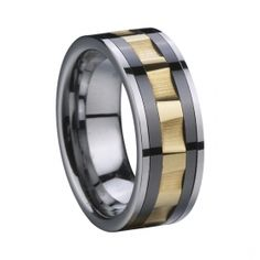 Tungsten Carbide Ring with gold plating Ceramic Inlay