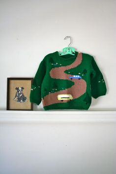 vintage child's novelty sweater  SCHOOL BUS hand knit by MsTips, $24.00