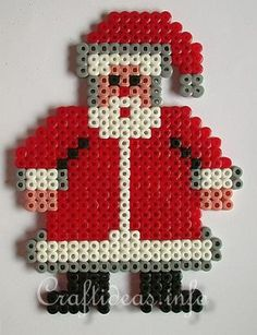 Christmas Crafts for Kids - Fuse Beads Santa Claus. Christmas Perler Beads, Easy Christmas Ornaments, Noel Christmas, Christmas Crafts For Kids, Santa Ornaments, Kids Crafts, Fuse Bead Patterns, Craft Patterns, Beading Patterns