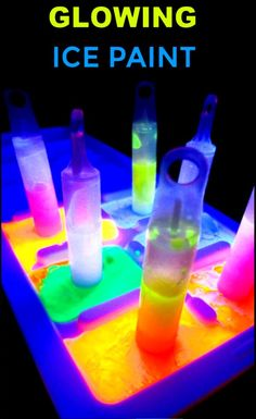 Make your own glowing ice chalk recipe for kids #icechalk #chalkpaint #frozenchalk #glowinthedarkpaint #growingajeweledrose #activitiesforkids