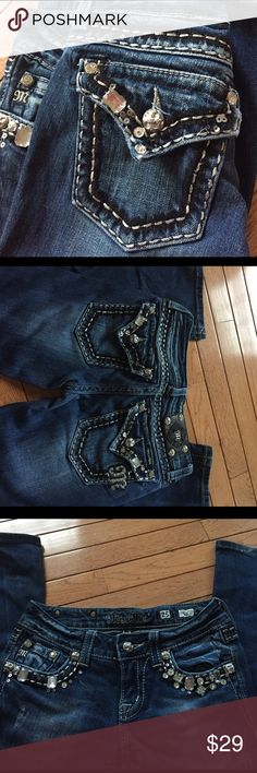 Miss Me Jeans Super cute Miss Me Jeans! A few jewels missing on the front pocket. Check my listings for similar items.. tons of name brand jeans (: Miss Me Jeans Boot Cut