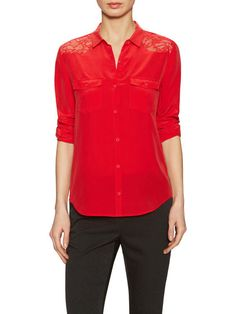 Silk Button Up Top with Lace Trim by The Kooples at Gilt