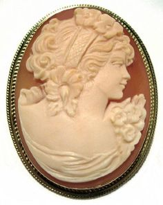 Cameo Pin Pendant Master Carved Summer Dream Carnelian Shell Solid 18k Yellow Gold Frame Italian -- Be sure to check out this awesome product.