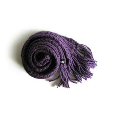 Purple Scarf Hand Knitted with Soft Wool Blend | knitBrandashop - Scarves and Accessories