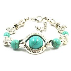 Fashion Tibetan Silver Plated Bracelet Turquoise Inlay Fish Bead Adjust Bangle #Handmade #Fashion