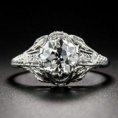 1.61 Carat Art Deco Diamond Engagement Ring GIA J, VVS2