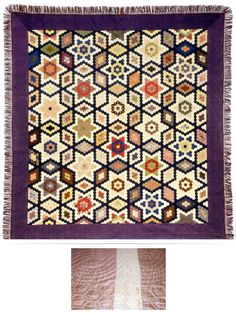 Mosaic patchwork quilt by Marina Jones Gregg, 1852, Charleston, SC. Made of silk fabrics, cotton batting and silk fringe. From the collections of the Charleston Museum.