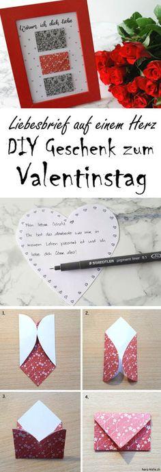 DIY Geschenkidee zum Valentinstag - warum ich dich liebe! Schreibe einen Liebesbrief auf einem Herz, falte diesen zu einem Briefumschlag und klebe ihn auf ein Bild. So hast du ein einzigartiges und persönliches Valentinstagsgeschenk für deinen Liebsten