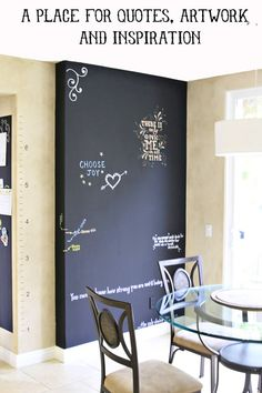 A Place for Quotes, Artwork and Inspiration- chalkboard wall