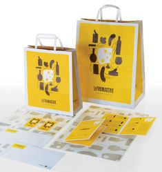 """The graphic language delivers a """"not just cheese"""" marketing message in order to explain that it is a Cheese Store but it also offers a variety of other products. Those, combined with the cheese create a marvelous culinary experience.The project included designing a logo a graphic language, bags and packaging, the deli itself, work uniforms, signage, and various advertisement and printed products."""