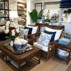 Rattan Bermuda furniture with blue and white.