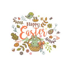 Cute Easter holiday banner in doodle style with Cute Easter Bunnies on white background.