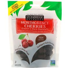 Stoneridge Orchards, Montmorency Cherries, Dipped in Dark Chocolate, 5 oz g) iherb Fruit Snacks, Protein Snacks, Montmorency Cherry, Cacao Fruit, Clif Bars, Confectioners Glaze, Vegan Shopping, Sour Cream And Onion, Delicious Fruit