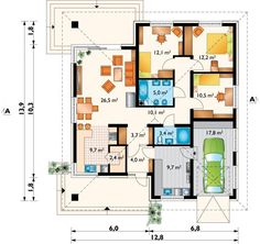 DOM.PL™ - Projekt domu AN BLANKA CE - DOM AO10-64 - gotowy koszt budowy Bungalow House Plans, House In The Woods, Sweet Home, Floor Plans, House Design, Flooring, How To Plan, Houses, Riddling Rack