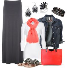 """Maxi Skirt with Pops of Coral"" by smores1165 on Polyvore"