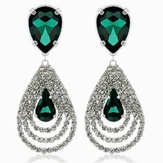 $5.41 Pair of Exquisite Diamante Multi-Layered Water Drop Pattern Pendant Earrings For Women