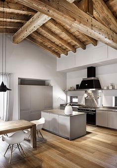 Home Design Kitchen Modern Woods Ideas Modern Interior Design, Interior Design Living Room, Interior Architecture, Design Interiors, Beautiful Architecture, Room Interior, Modern Wood House, Modern Barn, Design Industrial