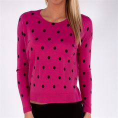Vertical Design Polka Dotted Soft Merino Wool Pullover #VonMaur #VerticalDesign #Pink #Black