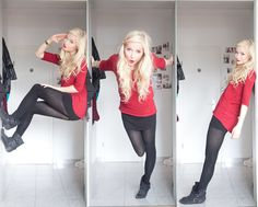 Joana ♡ - Vero Moda Longshirt, H&M Strumpfhose, New Yorker Schuhe, Michael Kors Uhr, H&M Rock - Little red riding hood Fashion Tights, Tights Outfit, Fashion Outfits, Fashion Capsule, Women's Fashion, Simple Outfits, Cute Outfits, Thigh High Leggings, Black Tights