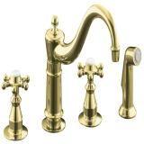 Antique Kitchen Sink Faucet In Vibrant Polished Brass Kitchen Sink, Brass, Decorative Bells, Polished Brass, Kitchen Sink Faucets, Kitchen, Home Decor, Kohler, Sink