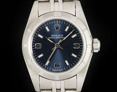 Rolex Oyster Perpetual Ladies Stainless Steel Blue Dial 76030 Rolex Oyster Perpetual, Oysters, Omega Watch, Stainless Steel, Lady, Blue, Accessories, Ornament