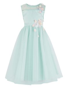 £50.00 A princess-worthy occasion dress with pastel-hued flower appliqués down the bodice, leading to a beautifully layered, full-bodied tulle skirt that twirls with grace. Pretty details include a mesh panel across the neckline, a cinched-in waist and a tie-up bow at the back for a truly classic touch.Info