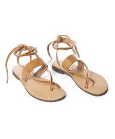 Tan Leather Esmeralda Toe Ankle Tie Sandal